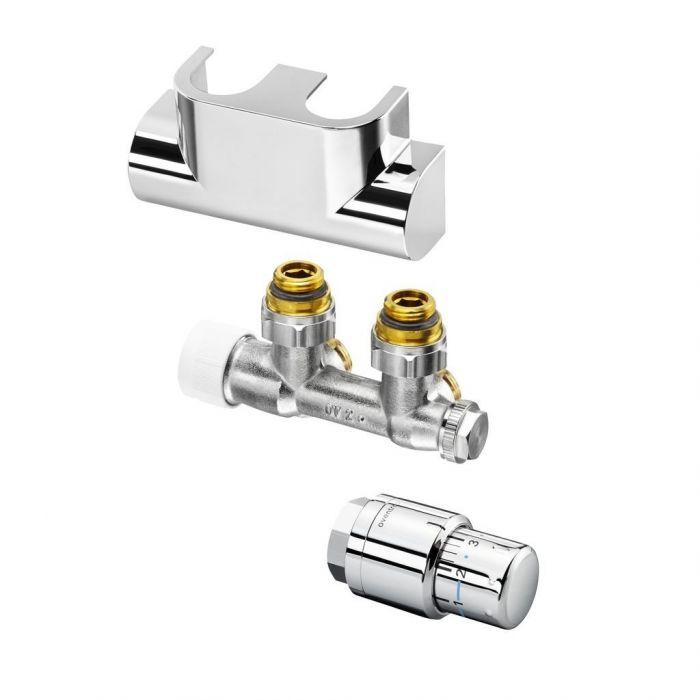 Zestaw przyłączeniowy kątowy Multiblock T + Uni SH do grzejników łazienkowych chromowany