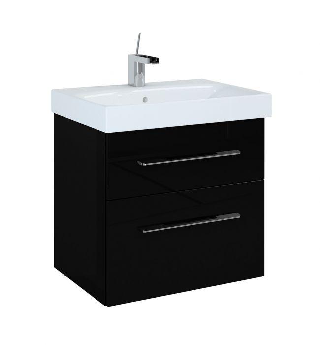 Barcelona szafka podumywalkowa podwieszana 60 2S 2 szuflady 600 x 420 x 540 mm czarna z mechanizmem cichego domyku