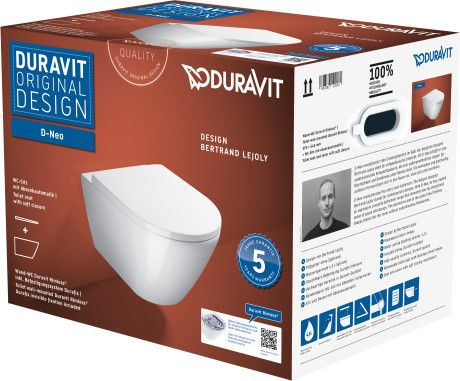 D-NEO zestaw WC biały w zestawie: miska toaletowa wisząca Rimless 257709, deska WC 002169, Durafix do mocowania ukrytego