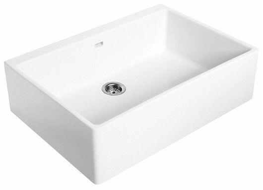 Nova Pro zlew ceramiczny 1-komorowy 700 x 500 x 200 mm biały bez otworu z przelewem z zestawem odpływowym