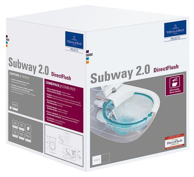 Subway 2.0 combi-pack miska + deska ceramika model podwieszany odpływ poziomy 37.5 x 56.5 cm Weiss Alpin zestaw zawiera: Miskę ustępową lejowa DirectFlush 5614R001, Deska SlimSeat z zawiasami QuickRelease i SoftClosing 9M78S101. Zestaw zapakowany w oddzie