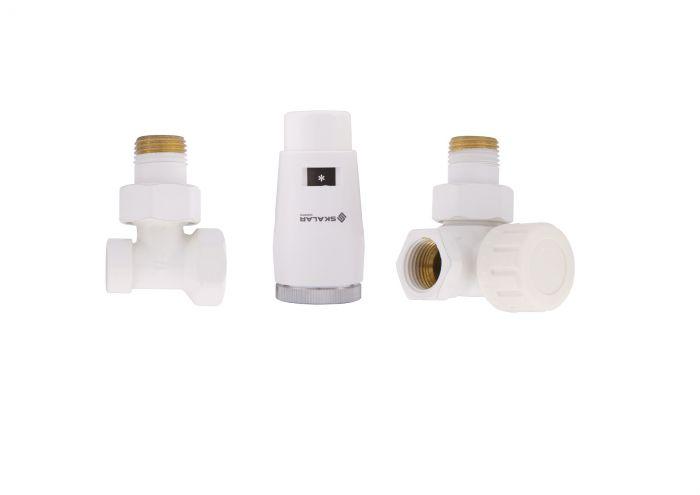 """Zestaw termostatyczny osiowy-prawy-kątowy SKALAR do grzejników łazienkowych 1/2""""x1/2"""" GZ x GW z głowicą SKALAR mini biały"""