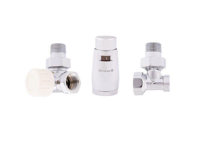 """Zestaw termostatyczny osiowy-lewy-kątowy SKALAR do grzejników łazienkowych 1/2""""1x/2"""" GZ x GW głowica SKALAR mini chrom"""