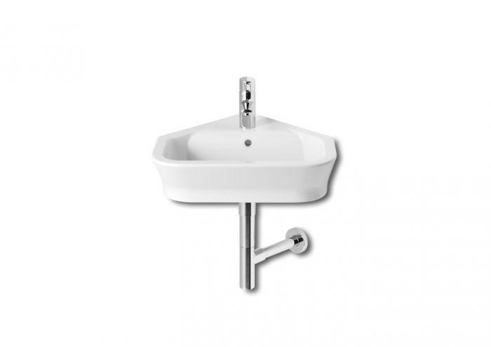 GAP umywalka ścienna/nablatowa narożna z otworem 480 x 480 x 170 mm biała z zestawem mocującym