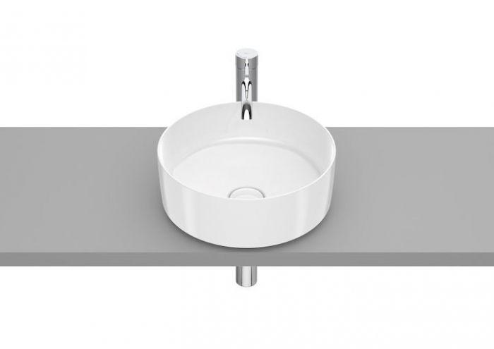 INSPIRA ROUND umywalka FINECERAMIC nablatowa okrągły bez otworu z korkiem 370 x 370 x 140 mm biała