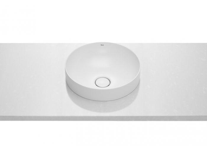 INSPIRA ROUND umywalka FINECERAMIC blatowa okrągły bez otworu z korkiem 370 x 370 x 75 mm biała