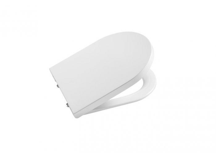 INSPIRA ROUND COMPACTO deska WC wolnoopadająca z Supralitu łatwowypinalna z zawiasami z chromowanego mosiądzu biała
