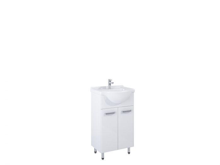 Amigo Set zestaw stojący 50 2D 2 drzwiczek z systemem cichego domyku 472 x 302 x 841 mm biały zawiera: szafkę z umywalką