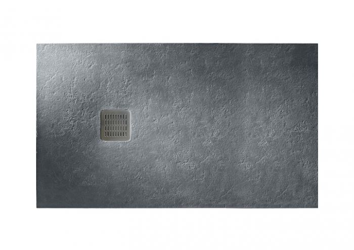 TERRAN brodzik kompozytowy STONEX prostokątny 100 x 80 x 2.6 cm szary łupek z syfonem A27L018000 z osłoną ze stali szlachetnej, czyszczonym od góry