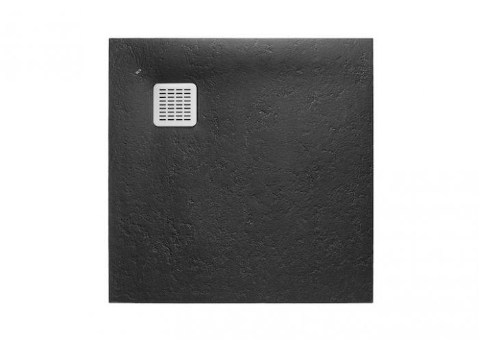 TERRAN brodzik kompozytowy STONEX kwadratowy 90 x 90 x 2.6 cm czarny z syfonem A27L018000 z osłoną ze stali szlachetnej, czyszczonym od góry