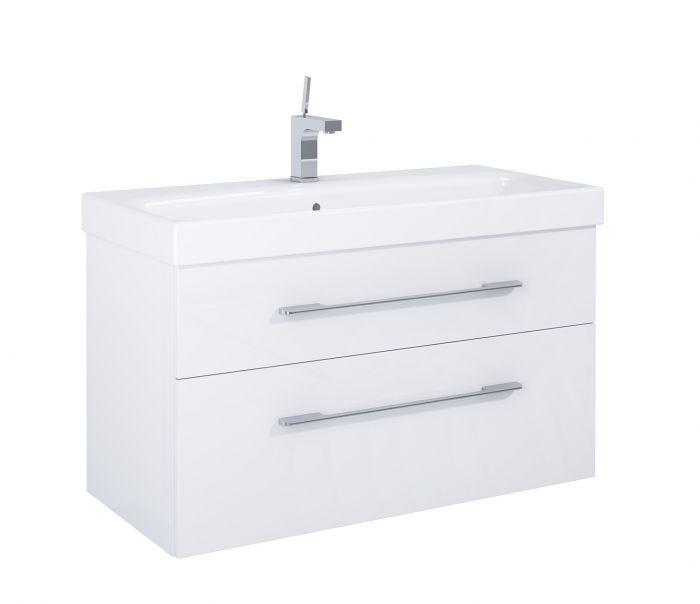 Barcelona szafka podumywalkowa podwieszana 100 2S 2 szuflady 1000 x 420 x 540 mm biała z mechanizmem cichego domyku