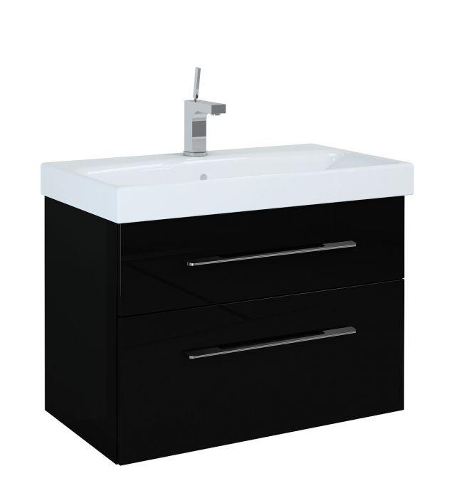 Barcelona szafka podumywalkowa podwieszana 80 3S 3 szuflady 801 x 420 x 540 mm czarna z mechanizmem cichego domyku