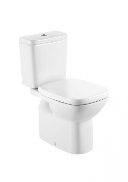 DEBBA miska do kompaktu WC z montażem do posadzki stojąca do kompletowania ze zbiornikiem z odpływem pionowym 35.5 x 65.5 cm biała z zestawem montażowym