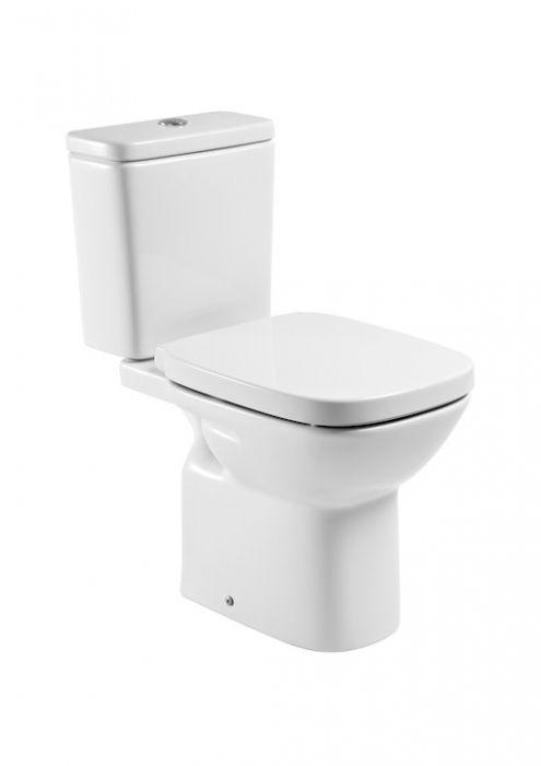DEBBA miska do kompaktu WC z montażem do posadzki stojąca do kompletowania ze zbiornikiem z odpływem poziomym 35.5 x 65.5 cm biała z zestawem montażowym