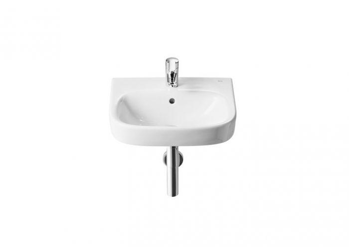 DEBBA umywalka ścienna COMPACTO z otworem 350 x 300 mm biała z zestawem mocującym