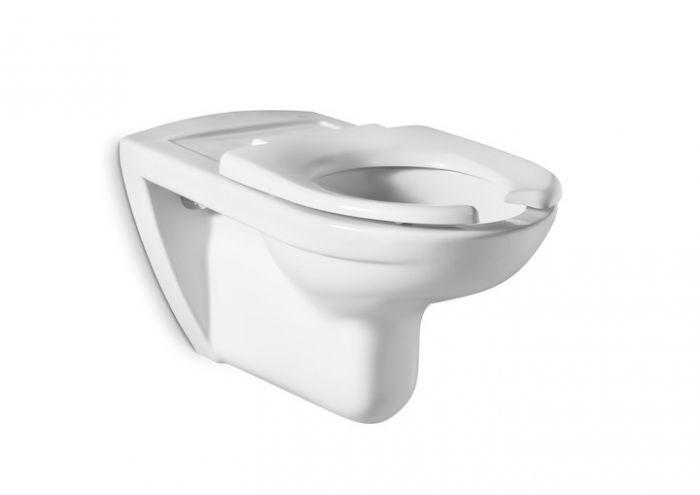 DOSTĘPNA ŁAZIENKA miska WC dla niepełnosprawnych podwieszana montaż do  ściany na stelażu z odpływem poziomym 36 x 70 x 48 cm biała z zestawem montażowym