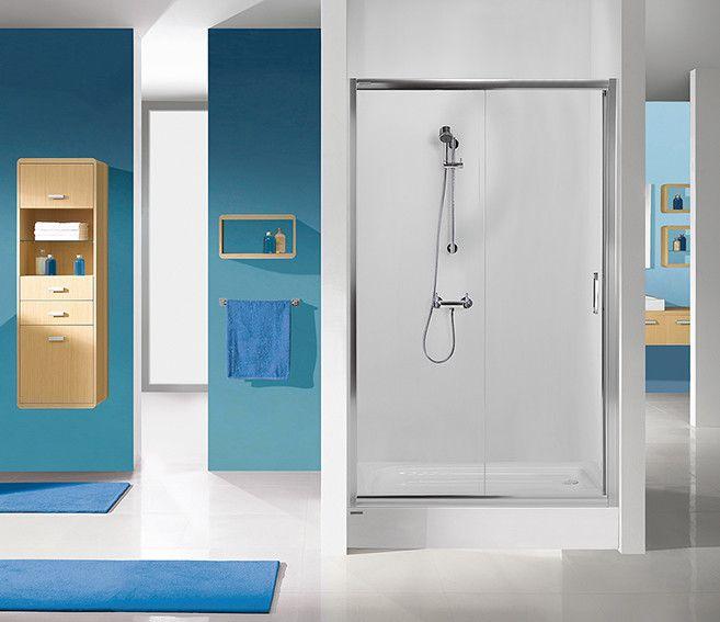TX D2/TX5b-90-S drzwi przesuwne 900 x 1900 mm srebrny błyszczący szkło hartowane transparentne W0  Glass protect