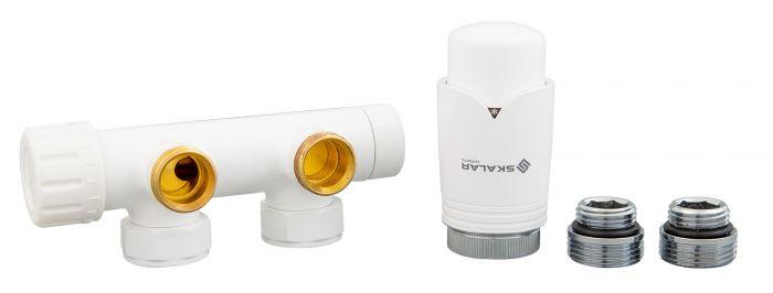 Zestaw grzejnikowy lewy SKALAR duoplex do grzejnika łazienkowego 3/4xM22x1,5 biały