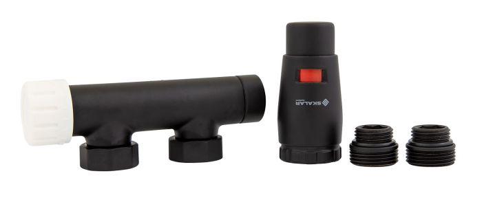 Zestaw grzejnikowy prawy SKALAR duoplex do grzejnika łazienkowego 3/4xM22x1,5 czarny mat