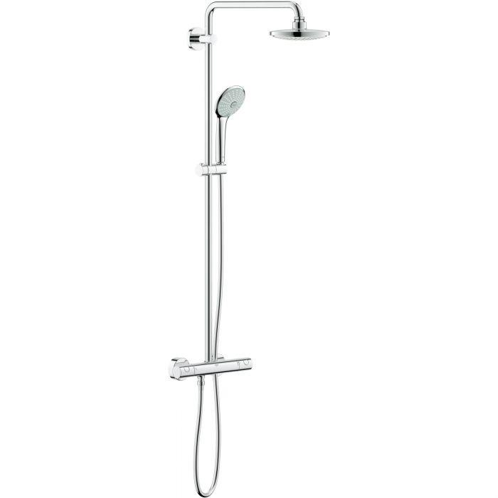Euphoria System 180 system prysznicowy chrom z funkcją Aquadimmer, 3 strumienie: Rain, Massage, SmartRain