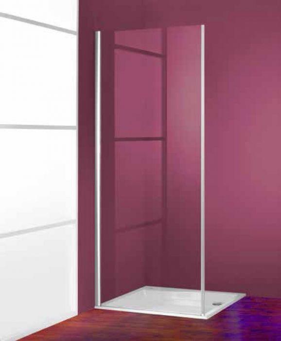Ena 2.0 900 ścianka boczna, 4-kąt 900 x 1900 mm srebrny połysk szkło hartowane przezroczyste Anti-Plaque