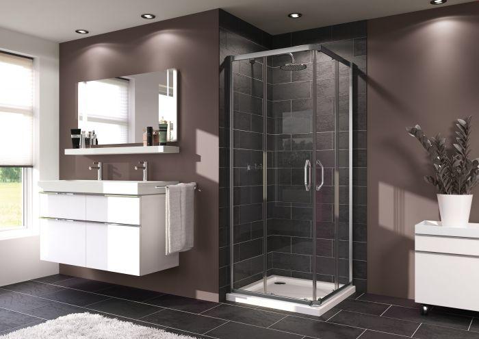 Ena 2.0 kabina narożna kwadratowy 800 x 800 x 1900 mm srebrny połysk szkło hartowane przezroczyste Anti-Plaque drzwi rozsuwane 2 częściowe