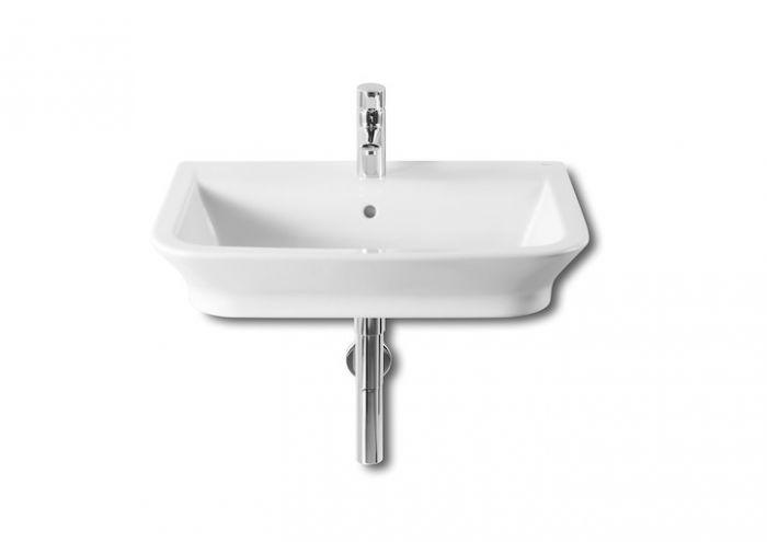 GAP umywalka ścienna/nablatowa z otworem 650 x 470 x 140 mm biała z powłoką MaxiClean z zestawem mocującym