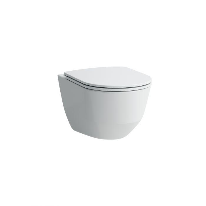 PRO miska WC podwieszana, Rimless 360 x 530 mm biała z deską sedesowa wolnoopadającą Slim