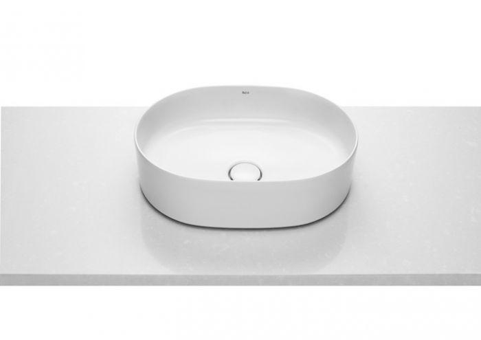 INSPIRA ROUND umywalka FINECERAMIC nablatowa bez otworu z korkiem 500 x 370 x 140 mm biała