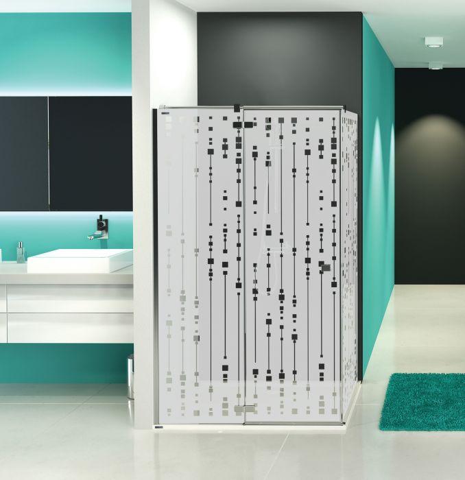 Free Line KNDJ2/FREE-90-S kabina narożna kwadratowy 900 x 900 x 1950 mm chrom/srebrny błyszczący szkło hartowane Sitodruk W16  Glass protect