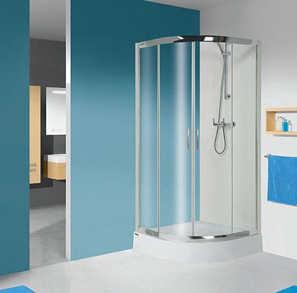 TX KP4/TX5b-90-S+BPza kabina narożna półokrągły 900 x 900 x 2030 mm srebrny matowy szkło hartowane Sitodruk W15  Glass protect z brodzikiem