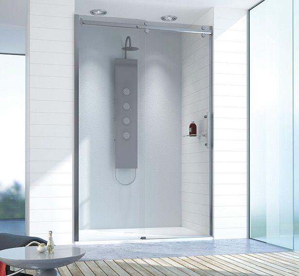 Altus D2/ALTIIa-110-120-S drzwi przesuwne 1100-1200 x 2100 mm chrom/srebrny błyszczący szkło hartowane transparentne W0  Glass protect