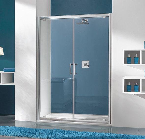 TX DD/TX5b-90-S drzwi skrzydłowe 900 x 1900 mm srebrny błyszczący szkło hartowane transparentne W0  Glass protect