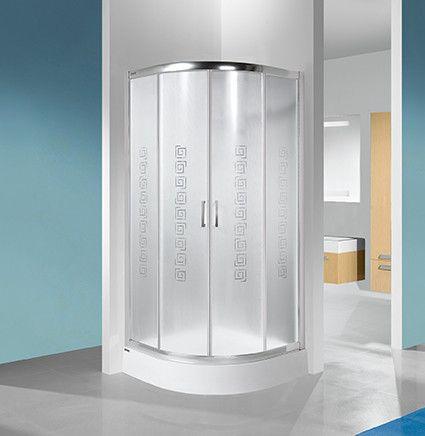 TX KP4/TX4b-90-S kabina narożna półokrągły 900 x 900 x 1900 mm biała EW szkło hartowane Sitodruk W14  Glass protect