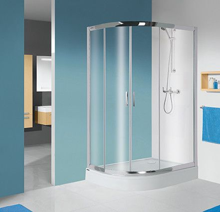 TX kpl-P-KP4/TX5b-80x100-S kabina narożna półokrągły strona prawa 800 x 1000 x 2055 mm srebrny błyszczący szkło hartowane transparentne W0  Glass protect