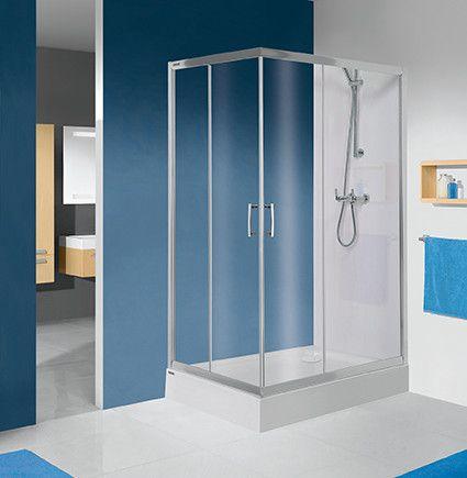 TX KN/TX5b-80x100-S kabina narożna prostokątny 800 x 1000 x 1900 mm srebrny błyszczący szkło hartowane Sitodruk W15  Glass protect