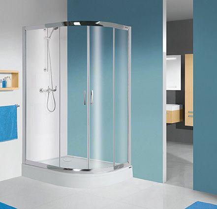 TX kpl-L-KP4/TX5b-80x100-S kabina narożna półokrągły strona lewa 800 x 1000 x 2055 mm srebrny błyszczący szkło hartowane transparentne W0  Glass protect