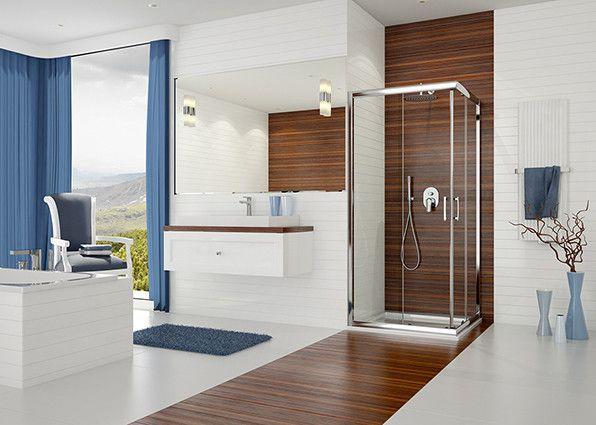 TX KN/TX5b-90-S kabina narożna kwadratowy 900 x 900 x 1900 mm srebrny błyszczący szkło hartowane Sitodruk W15  Glass protect