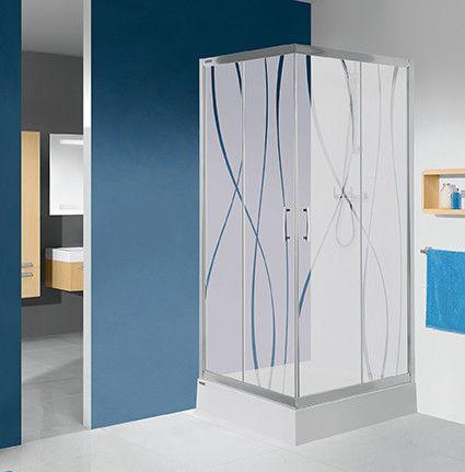 TX KN/TX5b-90-S+Bza kabina narożna kwadratowy 900 x 900 x 2030 mm srebrny błyszcący szkło hartowane transparentne W0  Glass protect z brodzikiem