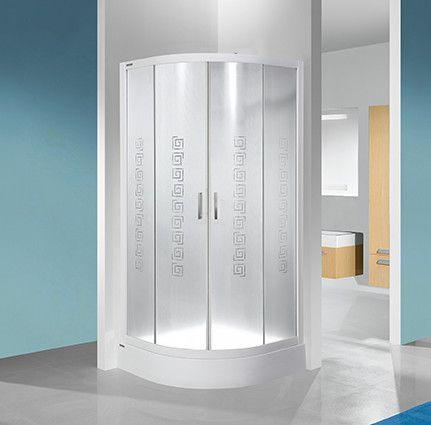 TX KP4/TX4b-90-S+BPza kabina narożna półokrągły 900 x 900 x 2005 mm chrom/srebrny błyszczący szkło hartowane transparentne W0  Glass protect z brodzikiem