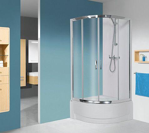 TX kpl-KP4/TX5b-90/165-S kabina narożna półokrągły 900 x 900 x 2020 mm srebrny błyszczący szkło hartowane Sitodruk W15  Glass protect