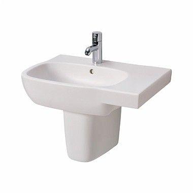 Style umywalka wisząca asymetryczny strona prawa z otworem z przelewem 650 x 460 mm biała