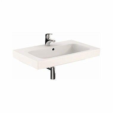 MODO umywalka wisząca z otworem z przelewem 800 x 485 mm biała z powłoką Reflex