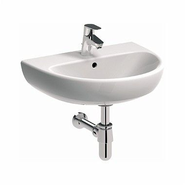 NOVA PRO umywalka wisząca owalny z otworem z przelewem 500 x 410 mm biała