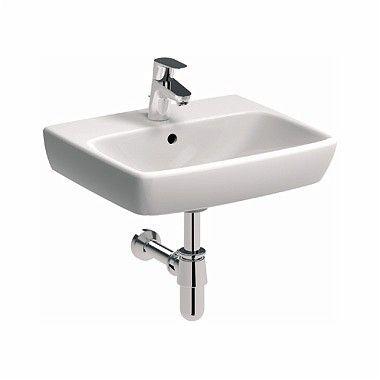 Nova Pro umywalka wisząca prostokątny z otworem z przelewem 500 x 420 mm biała