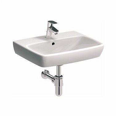 NOVA PRO umywalka wisząca prostokątny z otworem z przelewem 550 x 440 mm biała