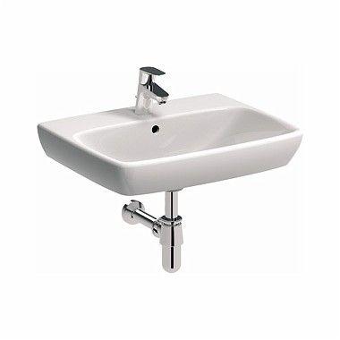 NOVA PRO umywalka wisząca prostokątny z otworem z przelewem 600 x 460 mm biała