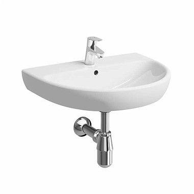 Nova Pro umywalka wisząca owalny z otworem z przelewem 650 x 500 mm biała