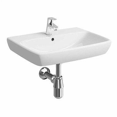 NOVA PRO umywalka wisząca prostokątny z otworem z przelewem 650 x 480 mm biała