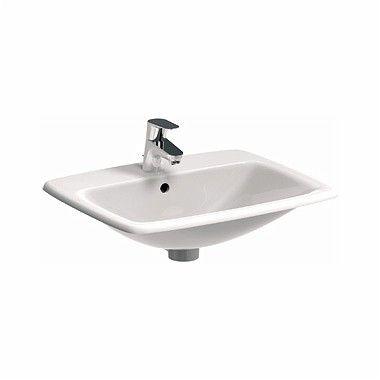 NOVA PRO umywalka wpuszczana w blat prostokątny z otworem z przelewem 600 x 450 mm biała